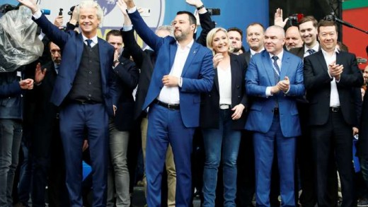 Geert Wilders, leader of Dutch party PVV (Party for Freedom), Italy's Deputy Prime Minister Matteo Salvini, Marine Le Pen, leader of French National Rally party, Veselin Mareshki, leader of Bulgarian party Volya (Will), Tomio Okamura, leader of the Czech Freedom and Direct Democracy (SPD) party attend a major rally of European nationalist and far-right parties ahead of EU parliamentary elections in Milan, Italy May 18, 2019. REUTERS/Alessandro Garofalo