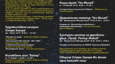 """XVI """"Нощ на изкуствата"""" организират в Стара Загора"""